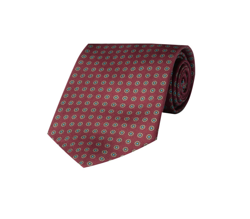 Silk Tie, Neat Flower - Wine