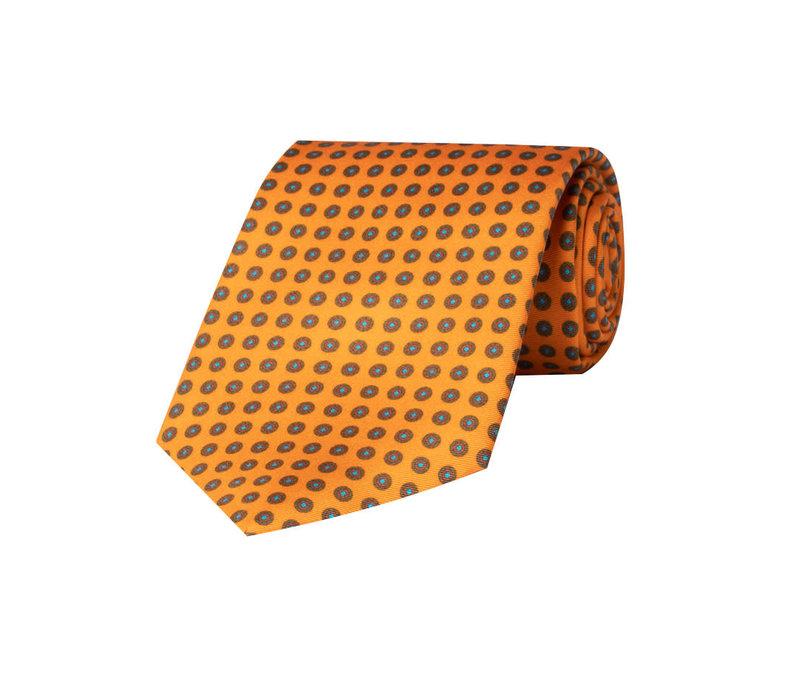 Silk Tie, Neat Flower - Orange