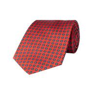 Silk Tie, Neat Flower - Red