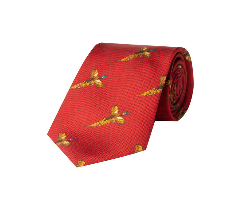 Silk Tie, Flying pheasant - Red