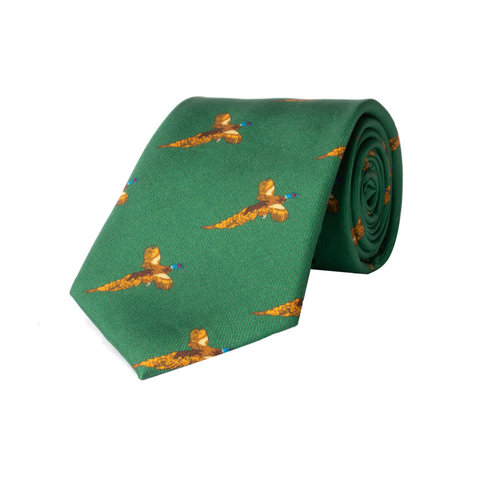 Silk Tie, Flying pheasant - Green
