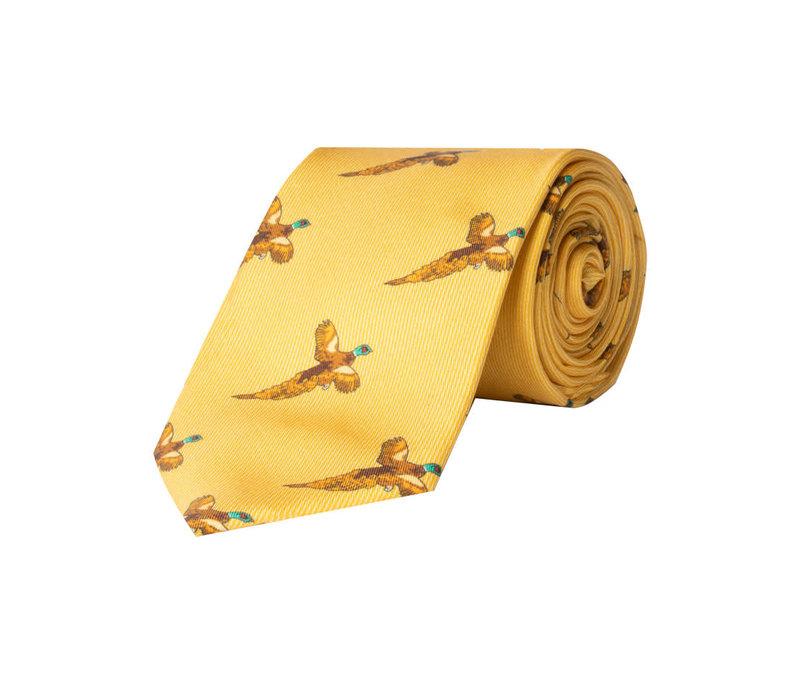Silk Tie, Flying pheasant - Yellow