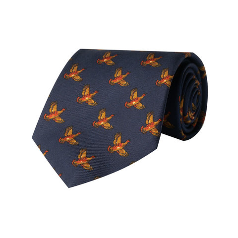 Silk Tie, Flying Grouse - Navy