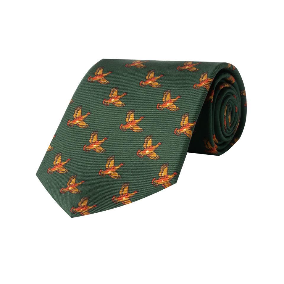 Silk Tie, Flying Grouse -  Dark Green