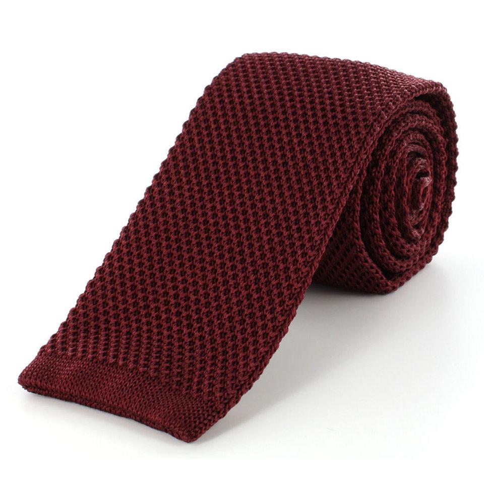 Pure Silk Knitted Tie - Wine