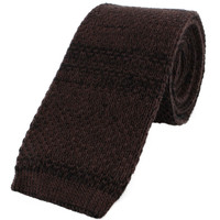 Pure Silk Knitted Tie - Brown