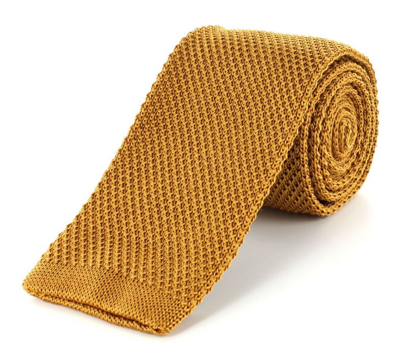 Pure Silk Knitted Tie - Gold