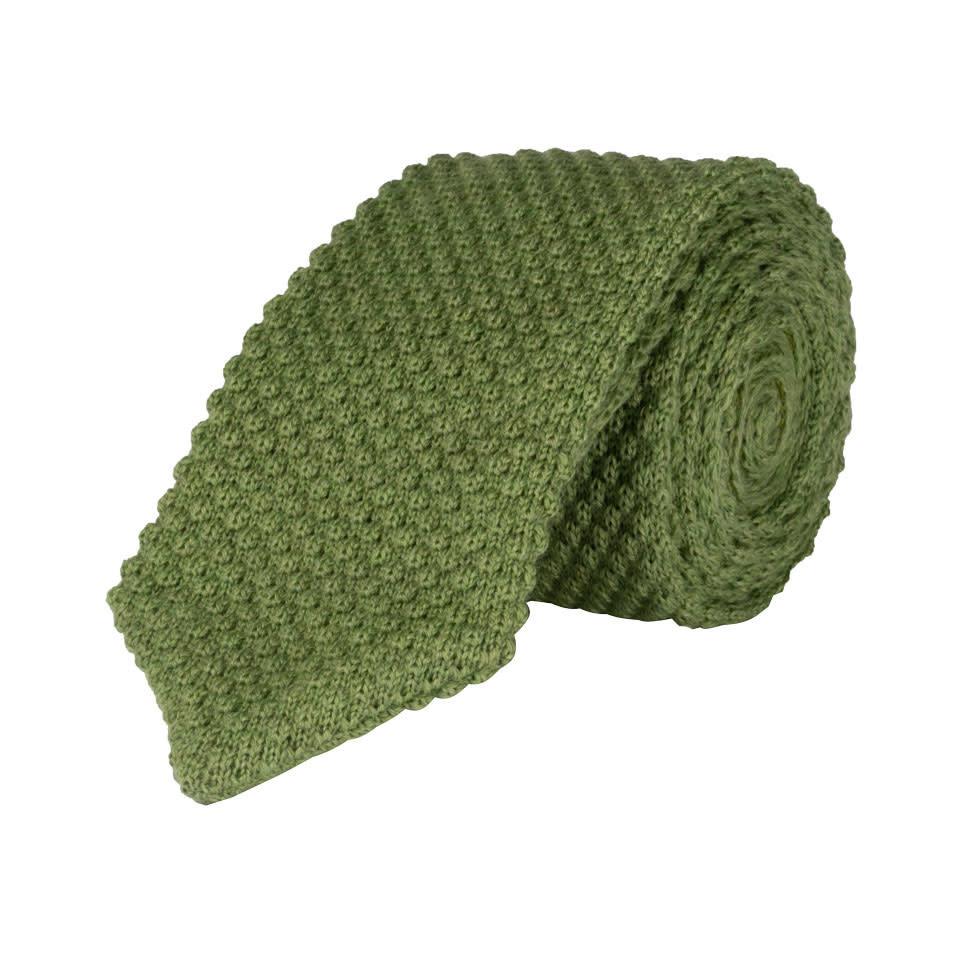 Wool Sock Tie, V End - Grass
