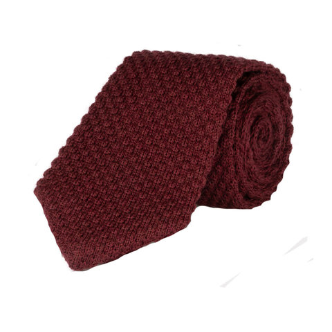 Wool Sock Tie, V End - Burgundy