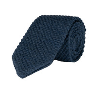 Wool Sock Tie, V End, Denim