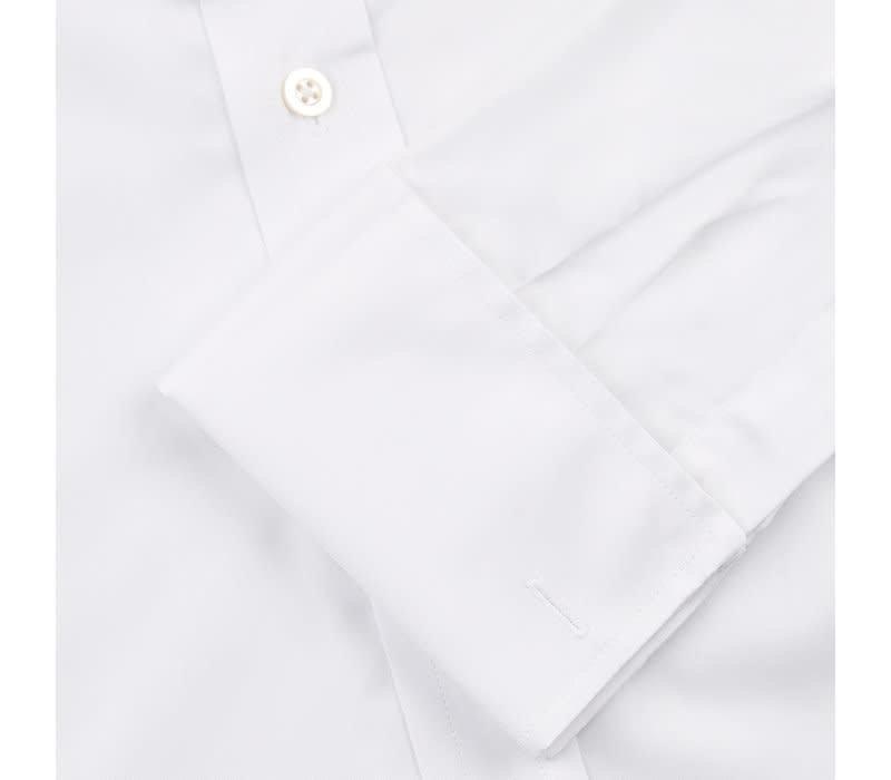Extra Slim Collarless Shirt - Herringbone White