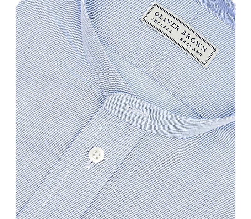 Extra Slim Collarless Shirt - Blue