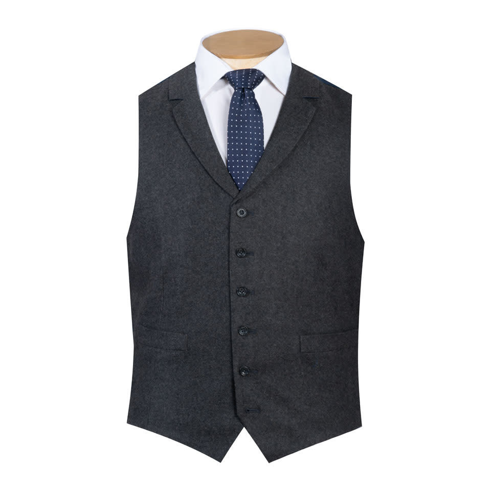 Single Breasted Waistcoat - Grey Cash Blend