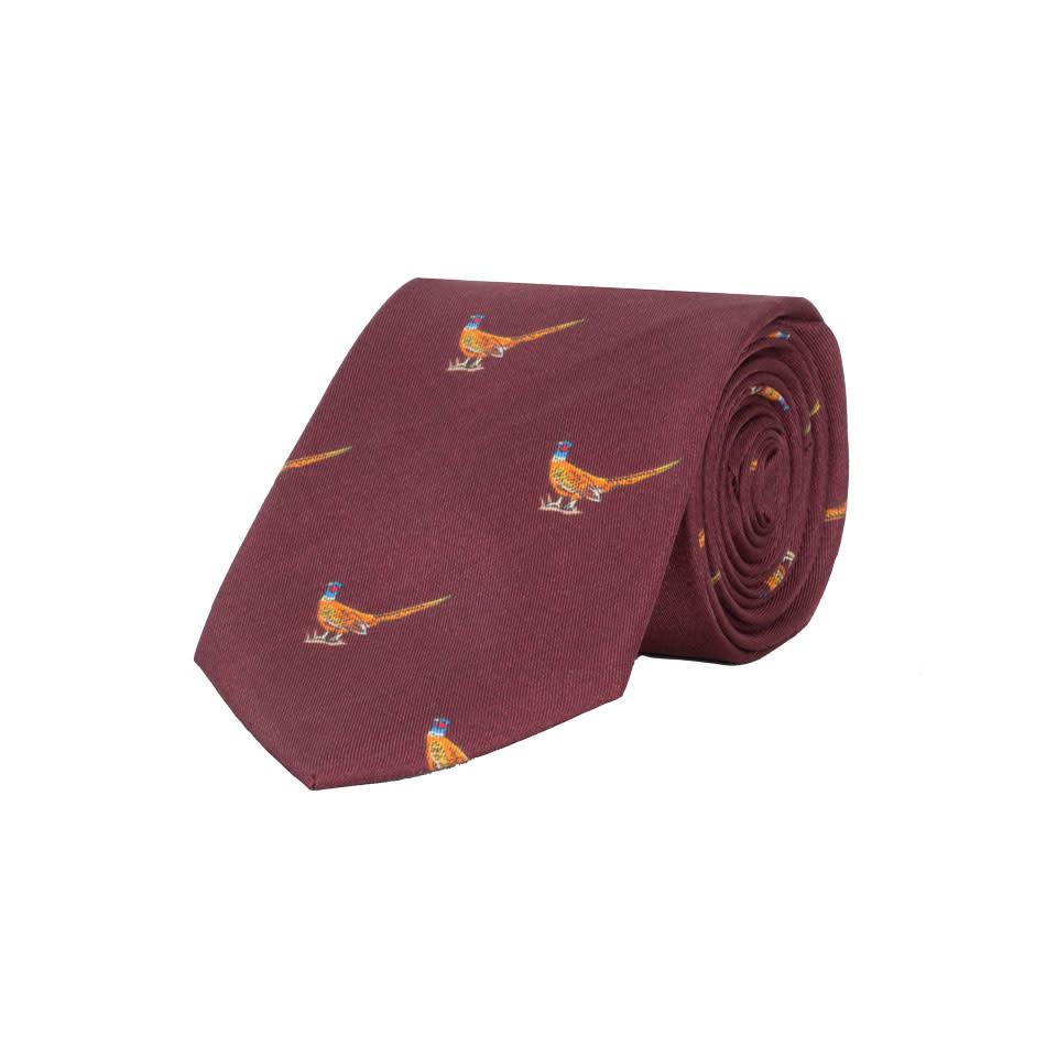 Silk Tie, Walking pheasant - Wine