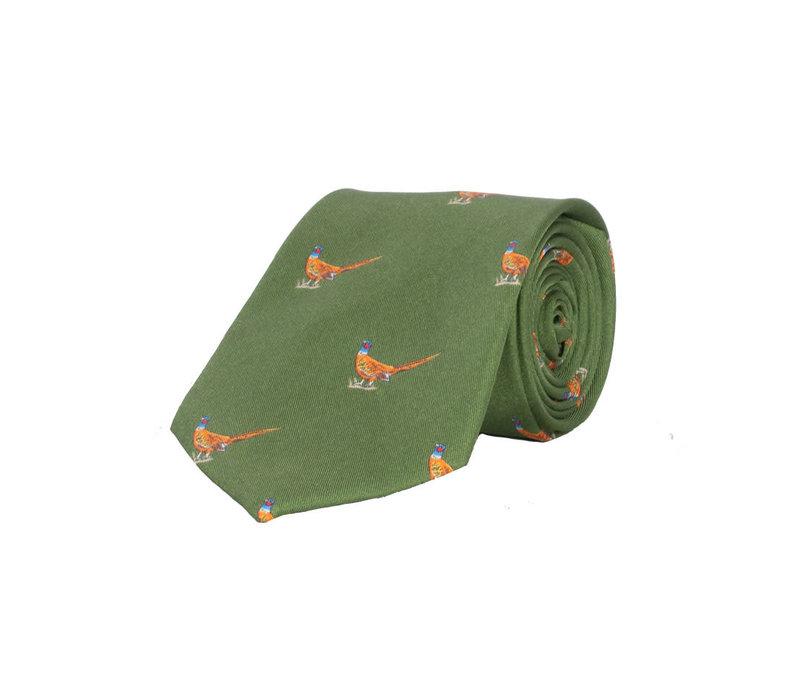 Silk Tie, Walking pheasant - Light Green