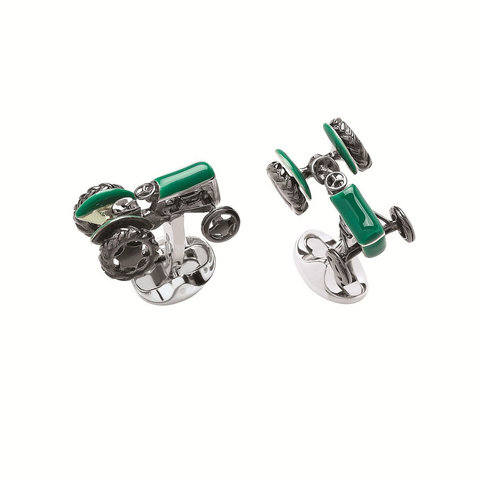 Sterling Silver Cufflinks -  Tractor