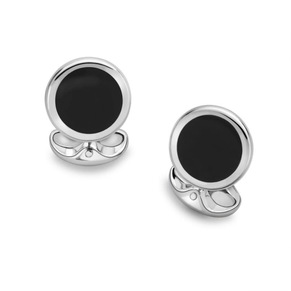 Sterling Silver Cufflinks - Round Onyx