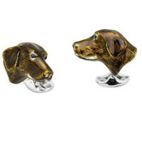 Sterling Silver Cufflinks - Enamel Dog