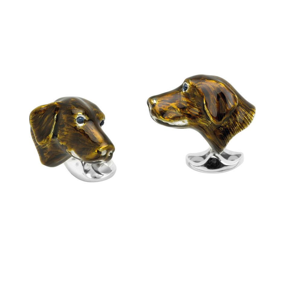 Sterling Silver Cufflinks - Enamel Dog