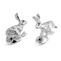 Solid Silver Sports Cufflinks, Hare