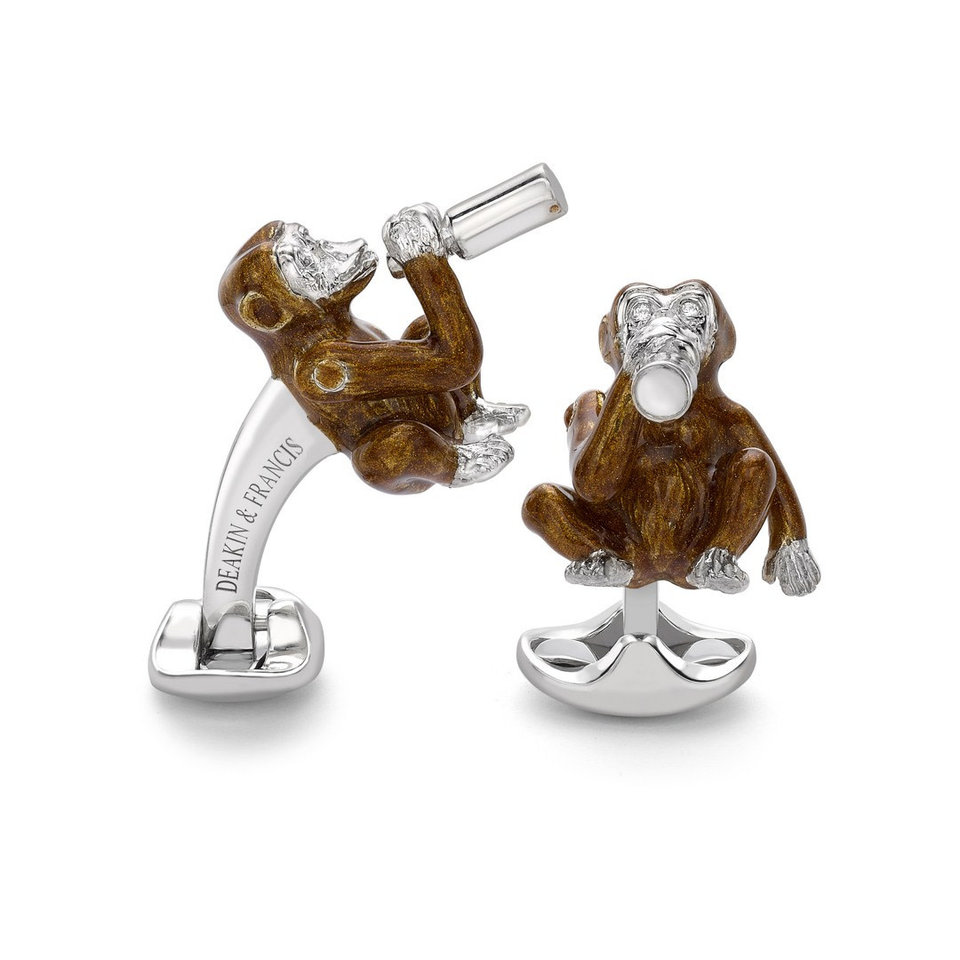 Sterling Silver Cufflinks - Enamel Monkey
