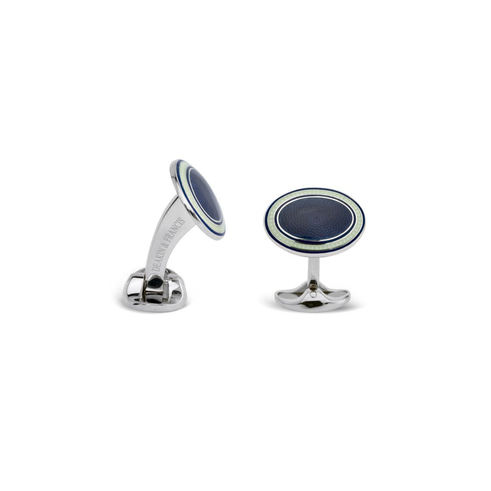 Sterling Silver, Enamel Cufflinks - Blue, Clear & Purple