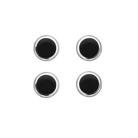 Silver Dress Studs - Circular Onyx