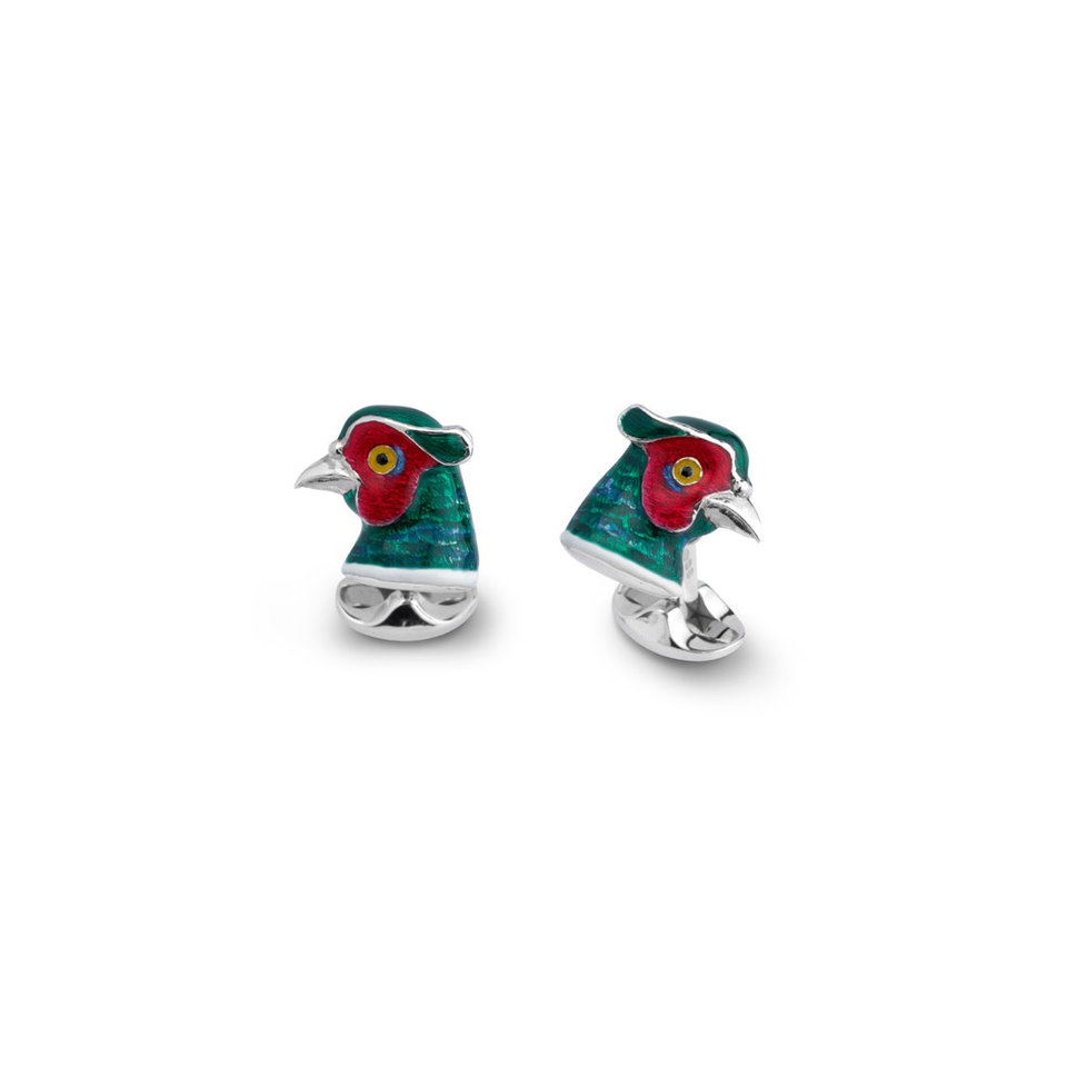 Sterling Silver Cufflinks - Pheasant Head