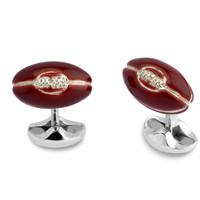 Sterling Silver Cufflinks - Enamel Rugby Ball