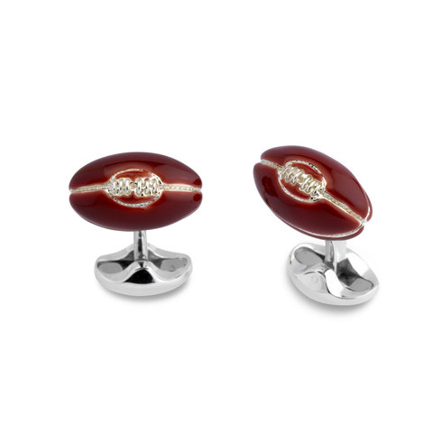 Sterling Silver Cufflinks - Enamel Rugby Ball