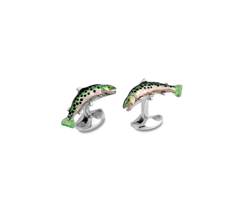 Sterling Silver Cufflinks - Trout