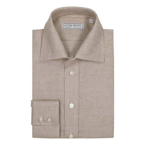 Brushed Herringbone Shirt - Ivory