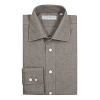 Brushed Herringbone Shirt - Brown