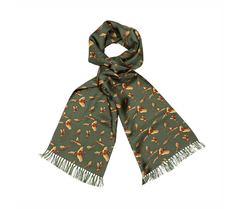 Silk Scarf, Pheasant - Green