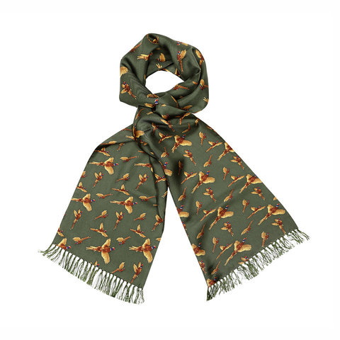 Wool & Silk Scarf, Flying Pheasant - Green