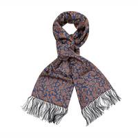 Wool & Silk Scarf, Paisley - Navy