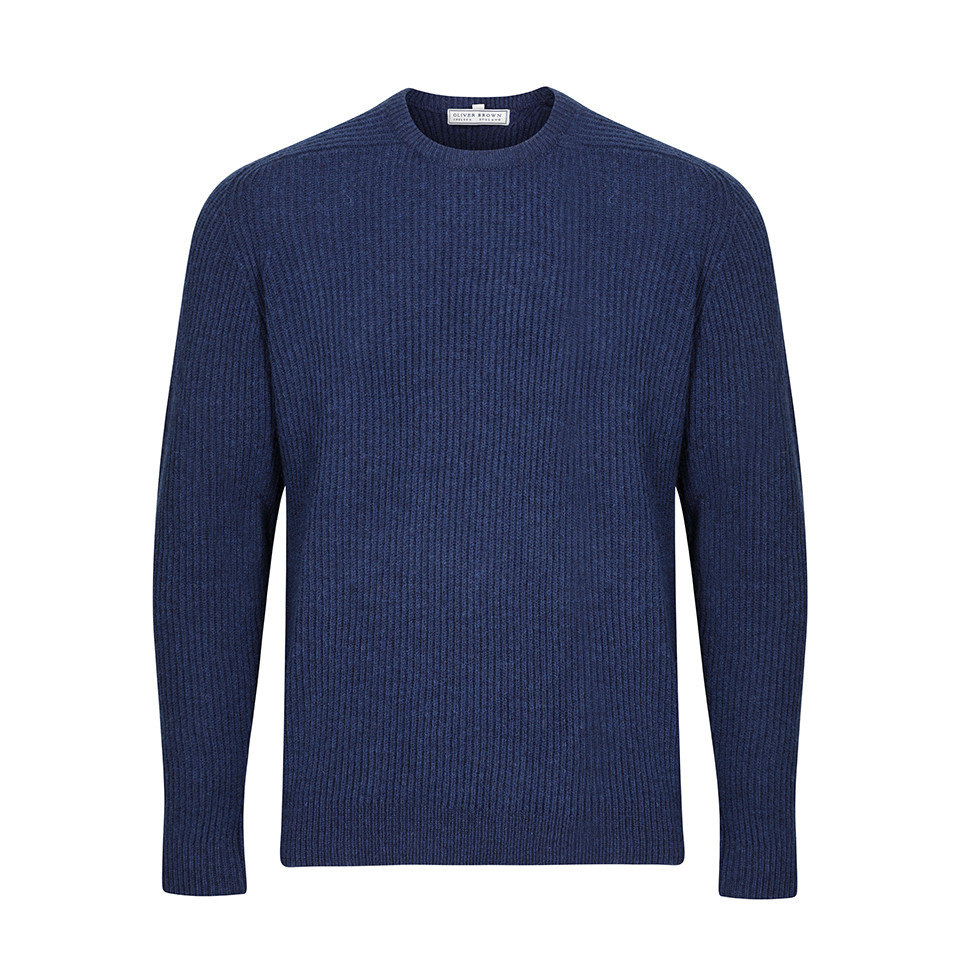 Lambswool Rib Stitch Crew Neck - Ink