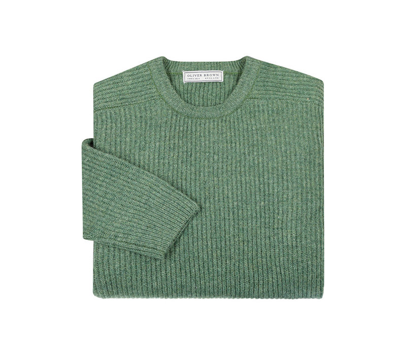 Lambswool Rib Stitch Crew Neck- Sage