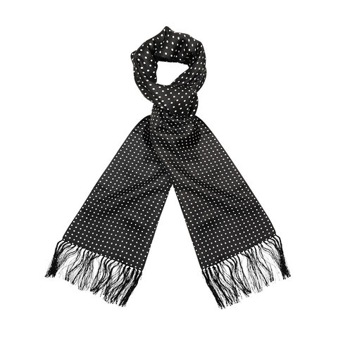 Wool & Silk Scarf, Spotted - Black