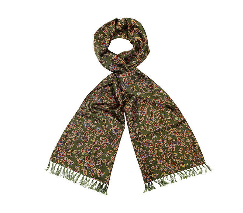 Silk Scarf, Paisley - Green