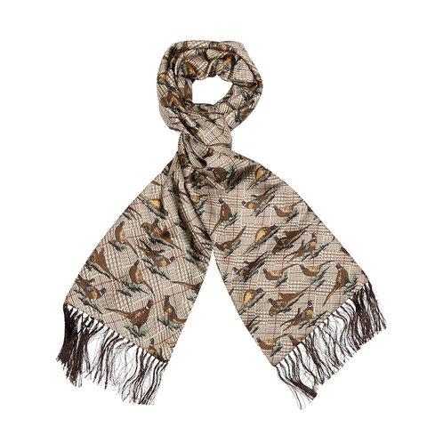 Wool & Silk Scarf, Standing Pheasant - Brown