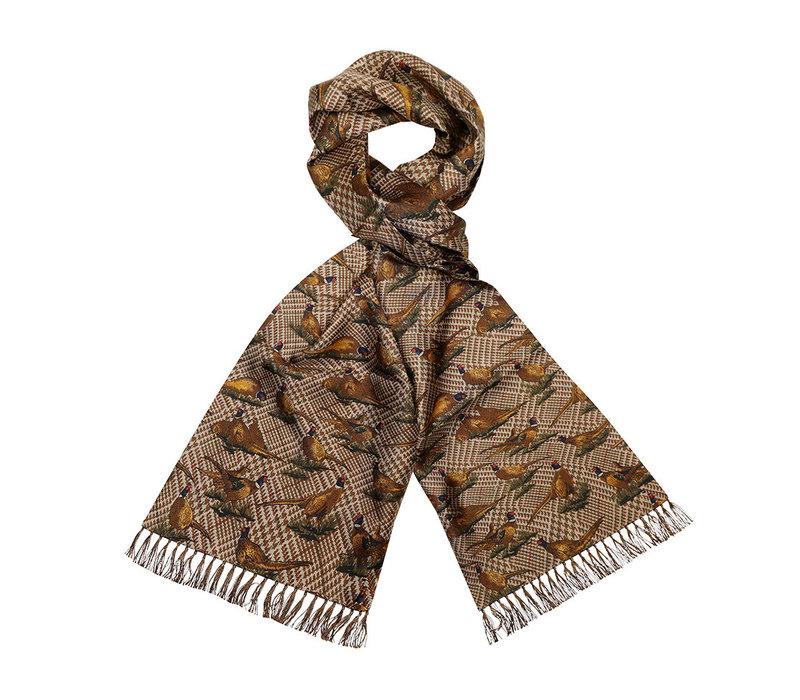 Silk Scarf, Pheasant - Brown