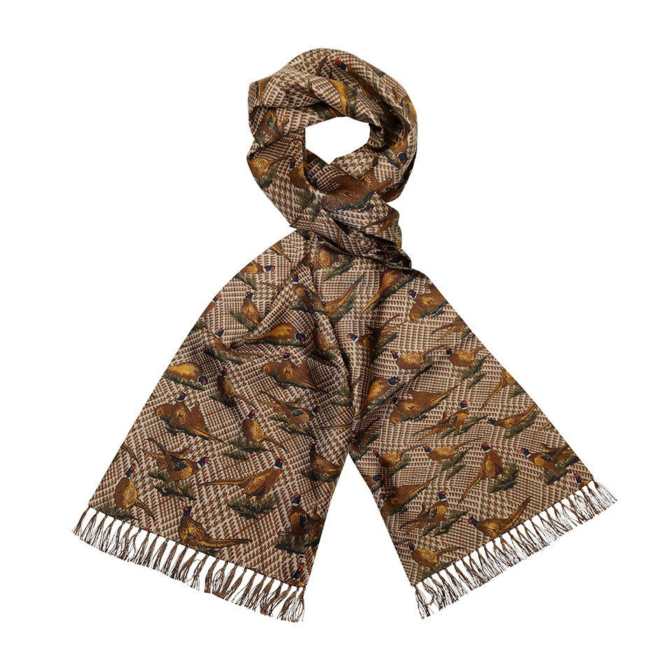 Silk Scarf, Pheasant - Brown