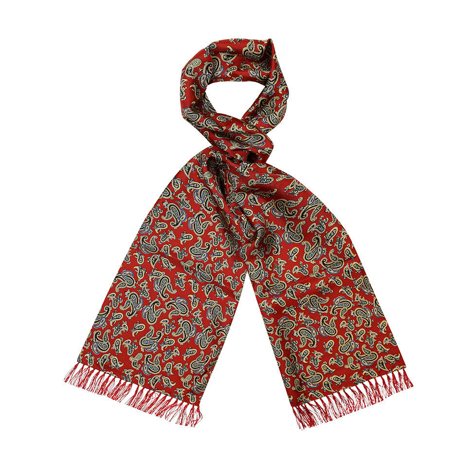Wool & Silk Scarf, Paisley - Red