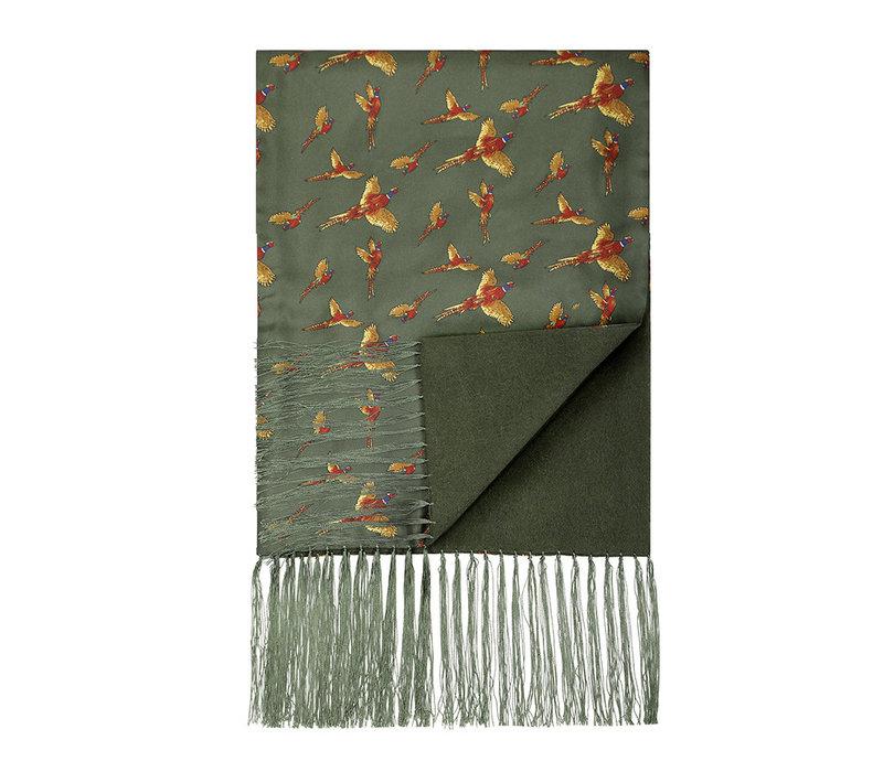 Wool & Silk Scarf, Flying Pheasant - Green