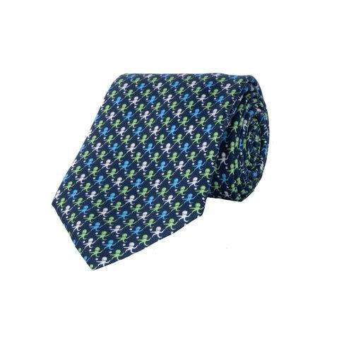 Silk Tie, Octopus - Navy/Green