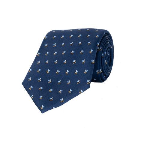 Silk Tie, Bee - Navy