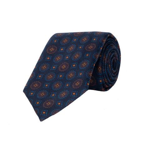 Silk Tie, Medallion Motif - Navy