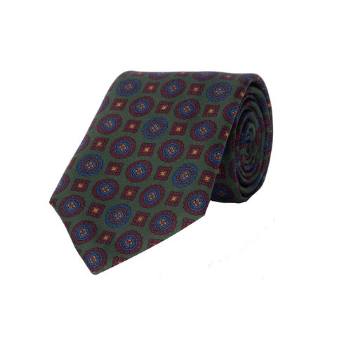 Silk Tie, Medallion Motif - Green