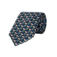Silk Tie, Lion - Navy